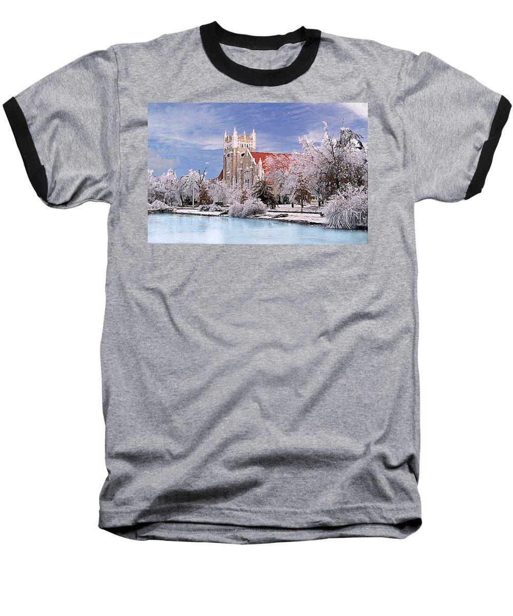Winter Baseball T-Shirt featuring the photograph Country Club Christian Church by Steve Karol