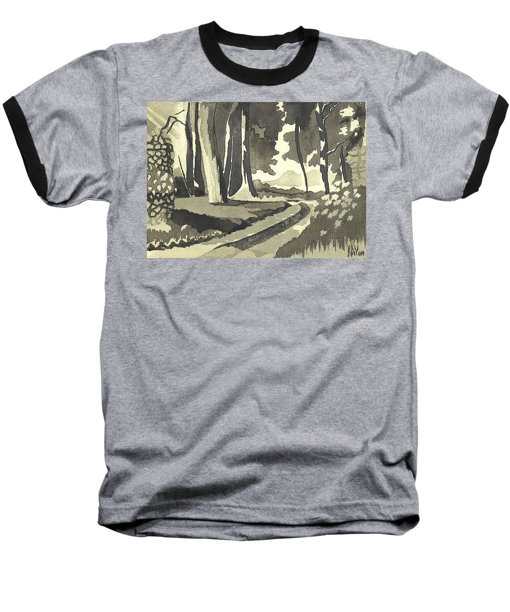 Rural Baseball T-Shirt featuring the painting Country Lane In Evening Shadow by Kip DeVore