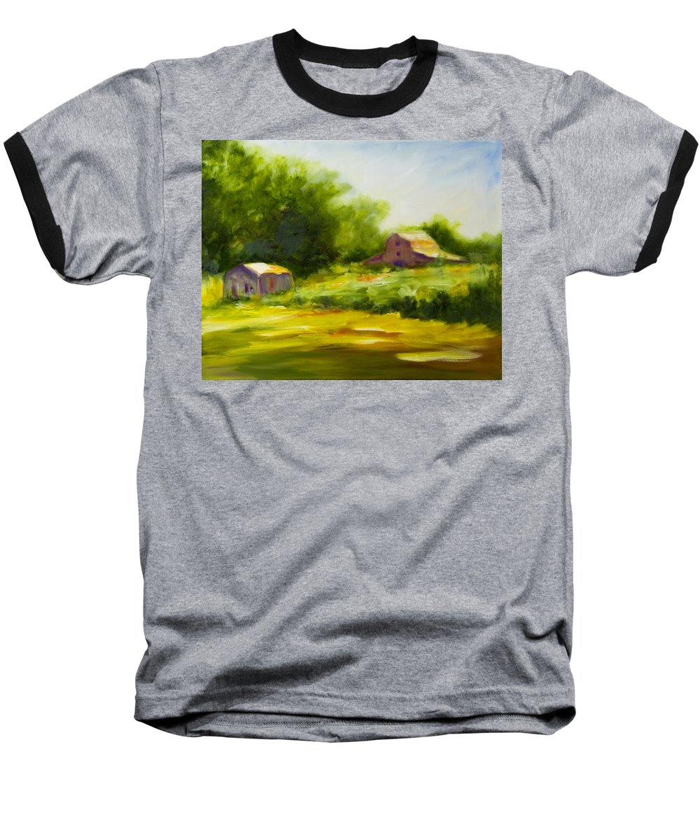 Landscape In Green Baseball T-Shirt featuring the painting Courage by Shannon Grissom