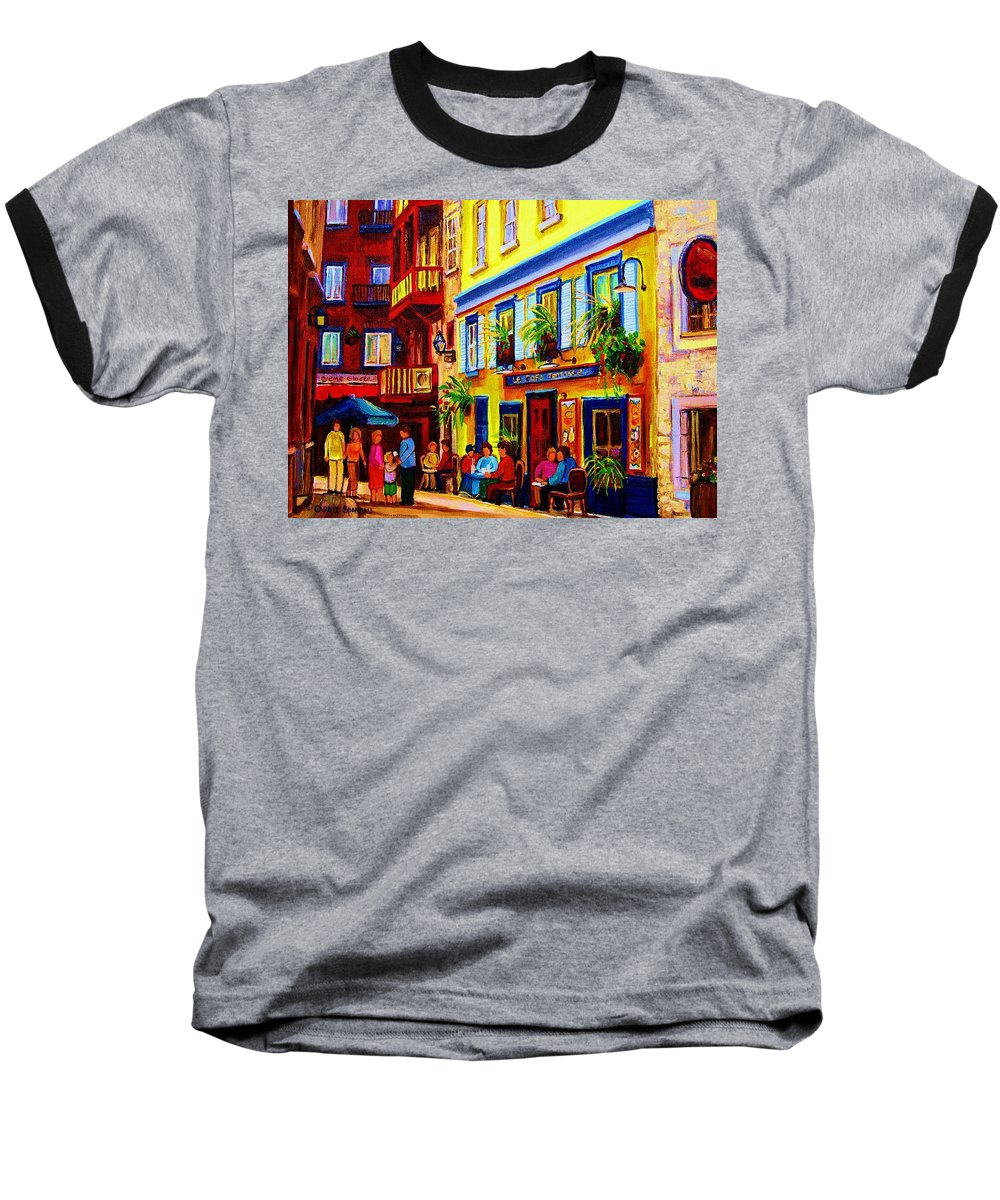 Courtyard Cafes Baseball T-Shirt featuring the painting Courtyard Cafes by Carole Spandau