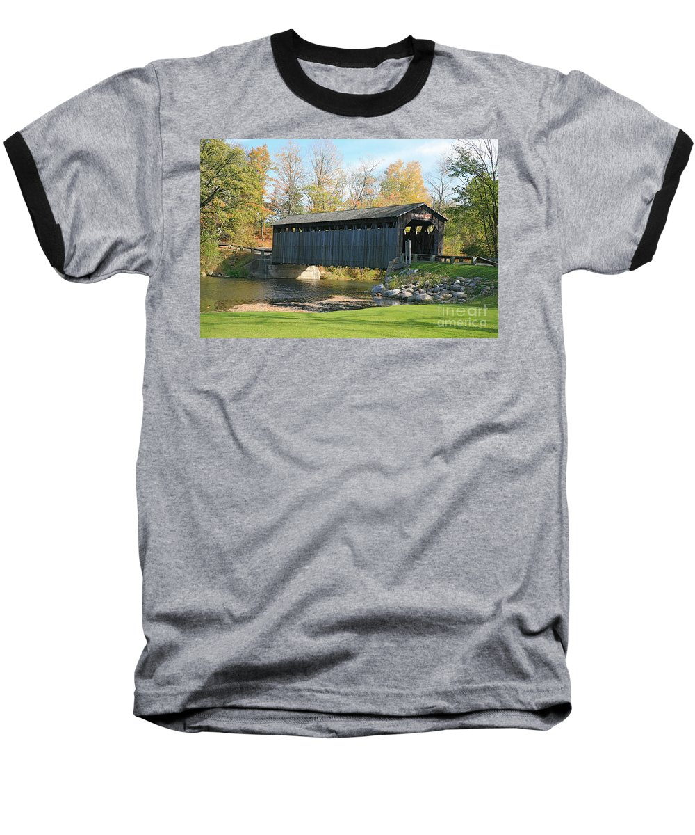 Covered Bridge Baseball T-Shirt featuring the photograph Covered Bridge by Robert Pearson