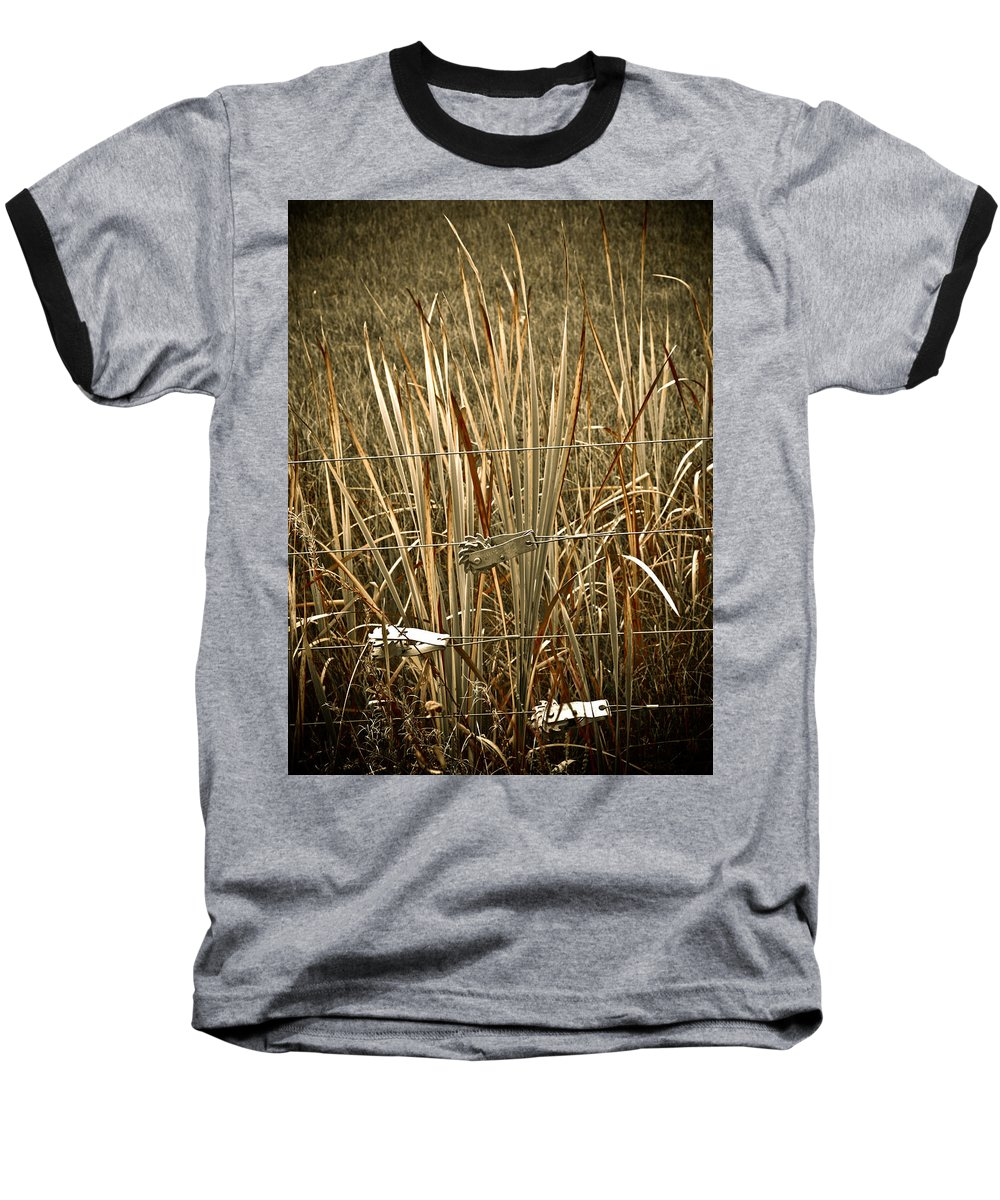 Americana Baseball T-Shirt featuring the photograph Cowboy Fence by Marilyn Hunt