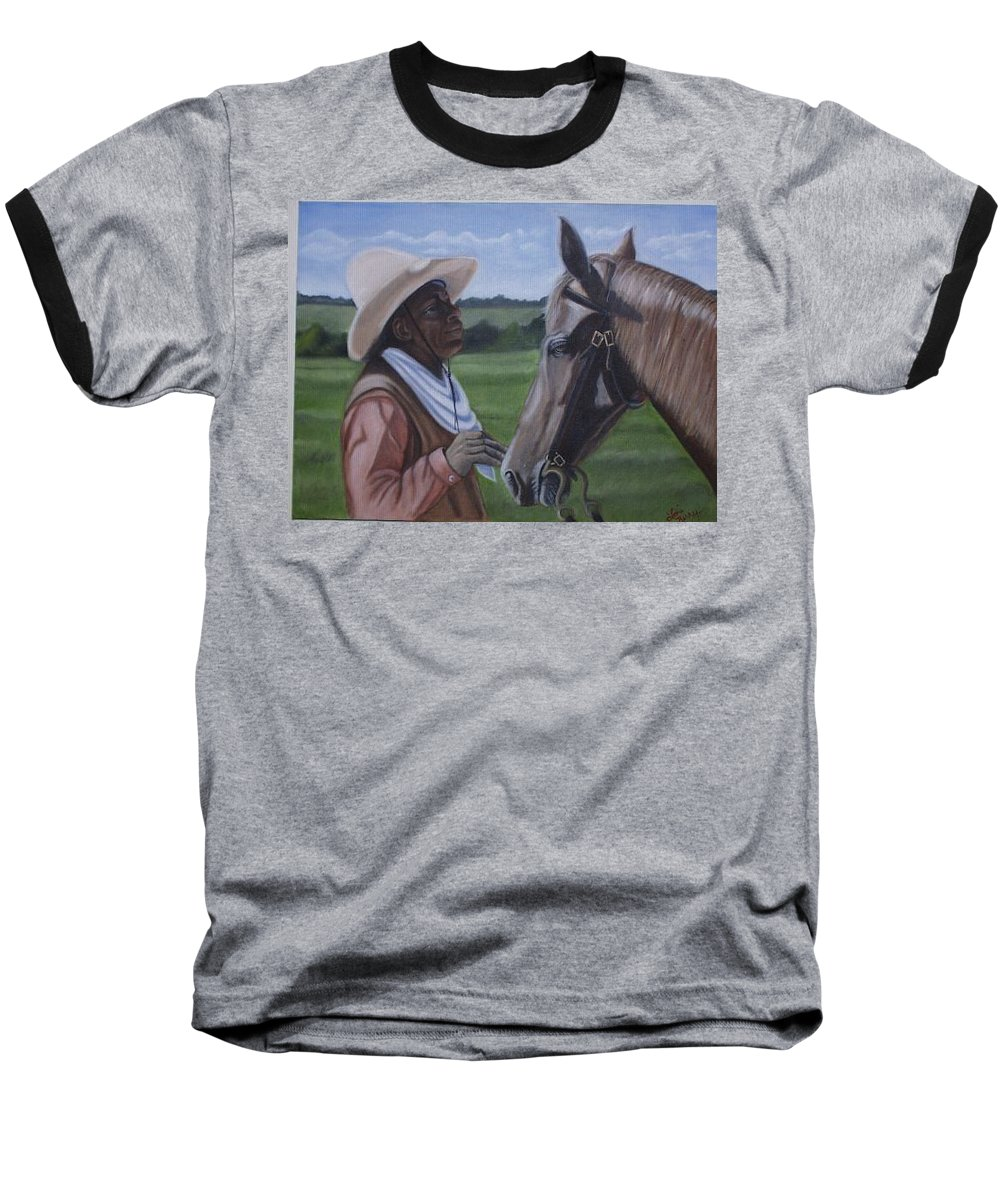 Portrait Baseball T-Shirt featuring the painting Cowboy2 by Toni Berry