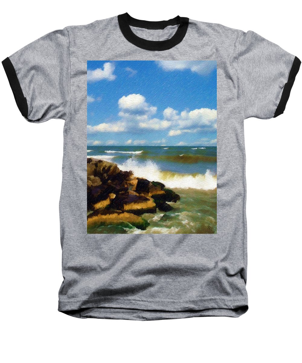 Seascape Baseball T-Shirt featuring the photograph Crashing Into Shore by Sandy MacGowan