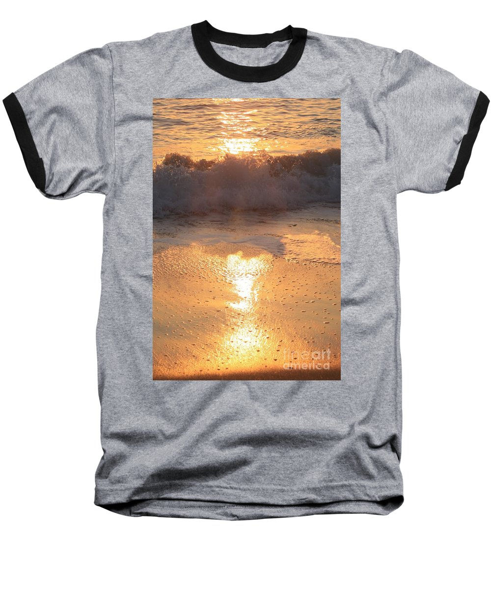 Waves Baseball T-Shirt featuring the photograph Crashing Wave At Sunrise by Nadine Rippelmeyer