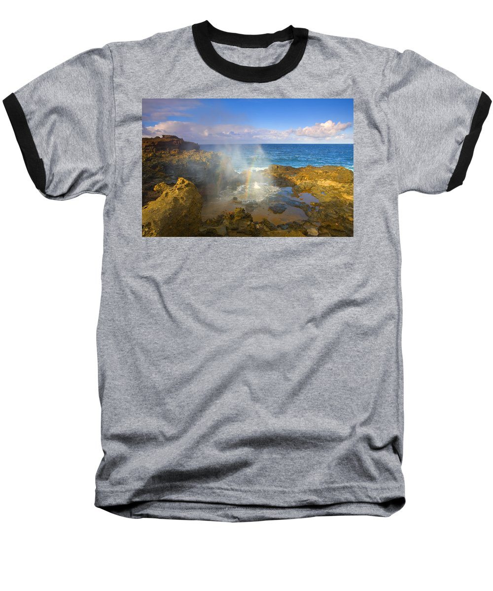 Blowhole Baseball T-Shirt featuring the photograph Creating Miracles by Mike Dawson