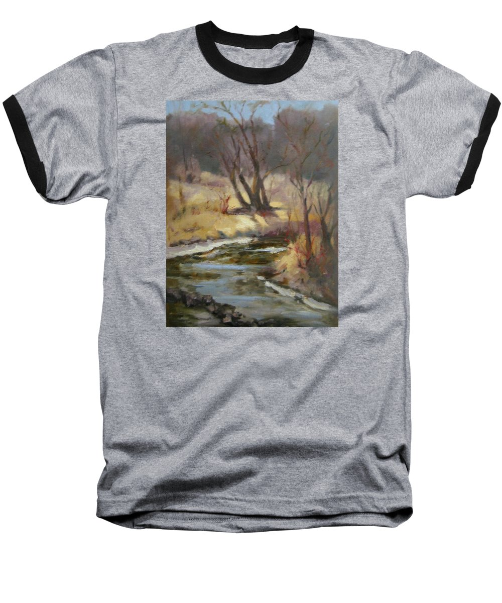 Plein Air Landscape Baseball T-Shirt featuring the painting Credit River by Patricia Kness