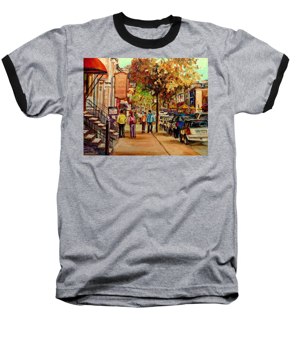 Montreal Streetscenes Baseball T-Shirt featuring the painting Crescent Street Montreal by Carole Spandau