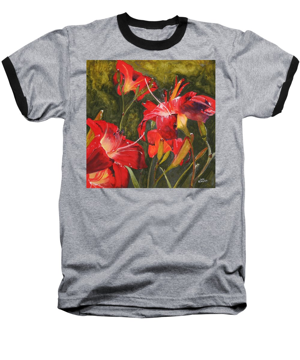 Red Baseball T-Shirt featuring the painting Crimson Light by Jean Blackmer