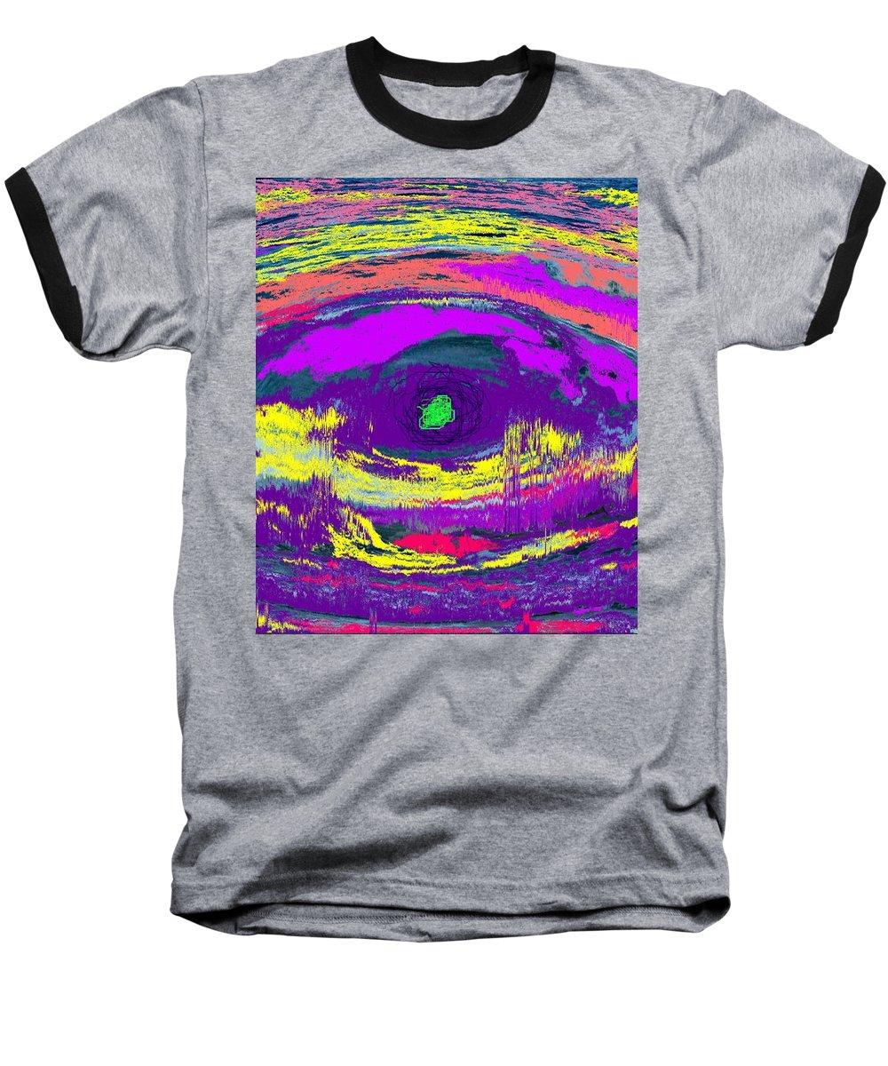 Abstract Baseball T-Shirt featuring the digital art Crocodile Eye by Ian MacDonald