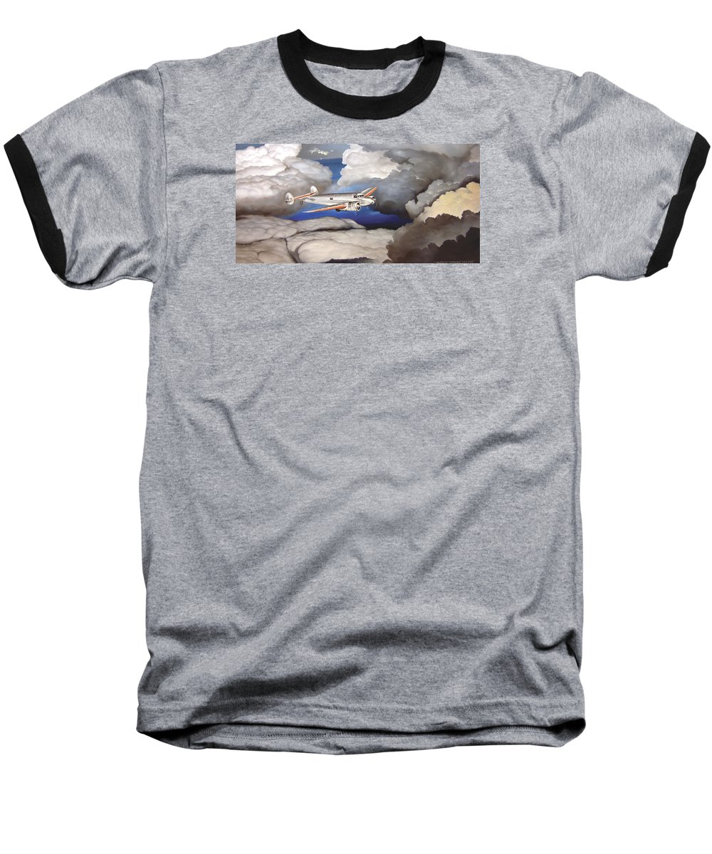 Aviation Baseball T-Shirt featuring the painting Crossing Over Amelia Earharts Final Flight by Marc Stewart