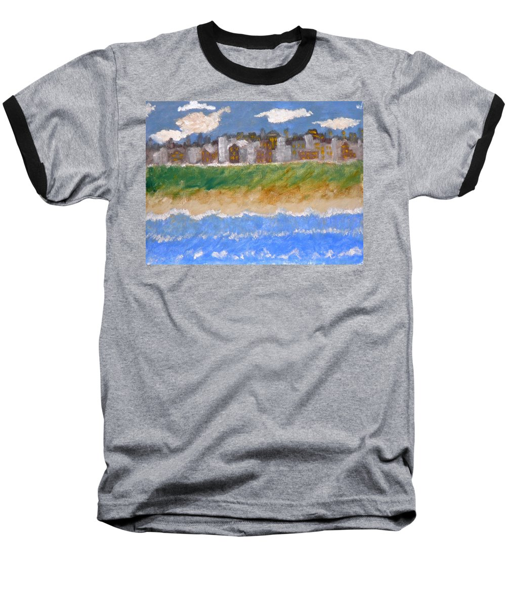 Seascape Baseball T-Shirt featuring the painting Crowded Beaches by R B