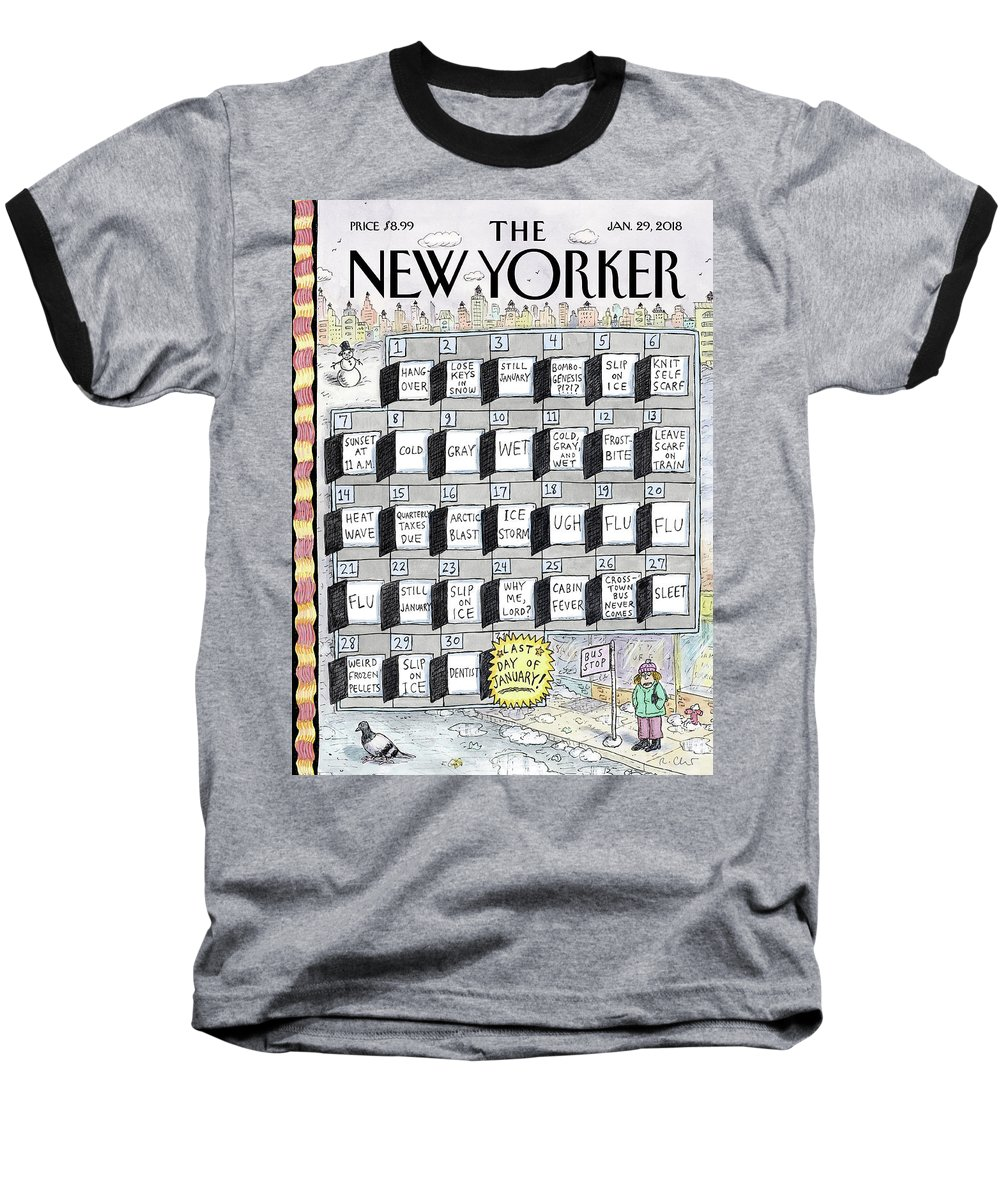 Cruellest Month Baseball T-Shirt featuring the drawing Cruellest Month by Roz Chast