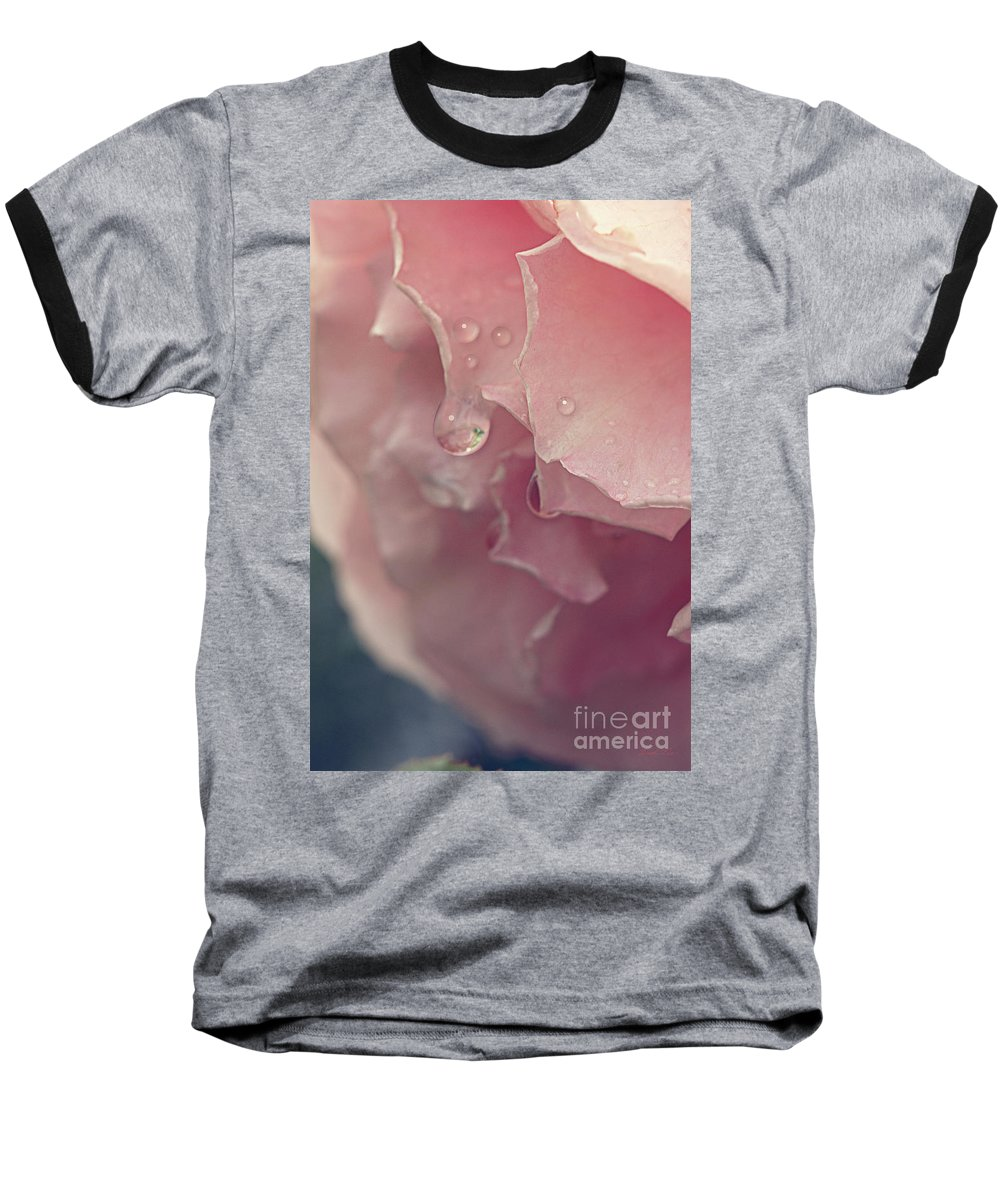 Rose Baseball T-Shirt featuring the photograph Crying In The Rain by Linda Lees