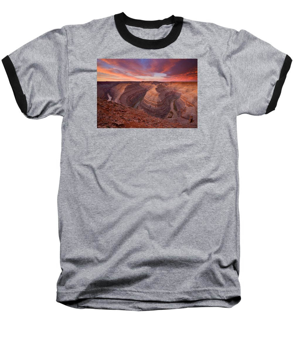 Canyon Baseball T-Shirt featuring the photograph Curves Ahead by Mike Dawson