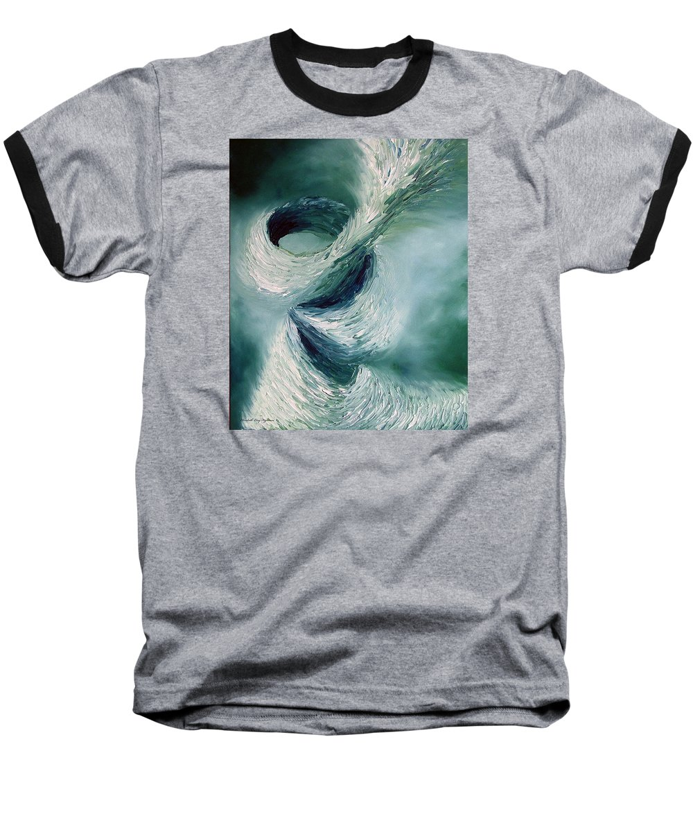 Tornado Baseball T-Shirt featuring the painting Cyclone by Elizabeth Lisy Figueroa