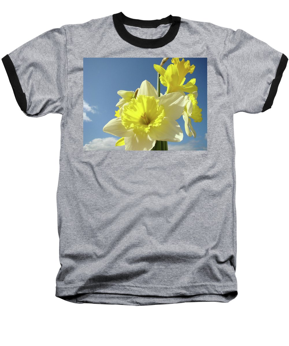 �daffodils Artwork� Baseball T-Shirt featuring the photograph Daffodil Flowers Artwork Floral Photography Spring Flower Art Prints by Baslee Troutman