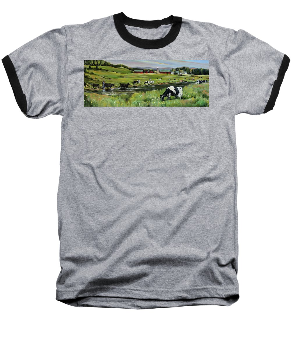 Landscape Baseball T-Shirt featuring the painting Dairy Farm Dream by Nancy Griswold