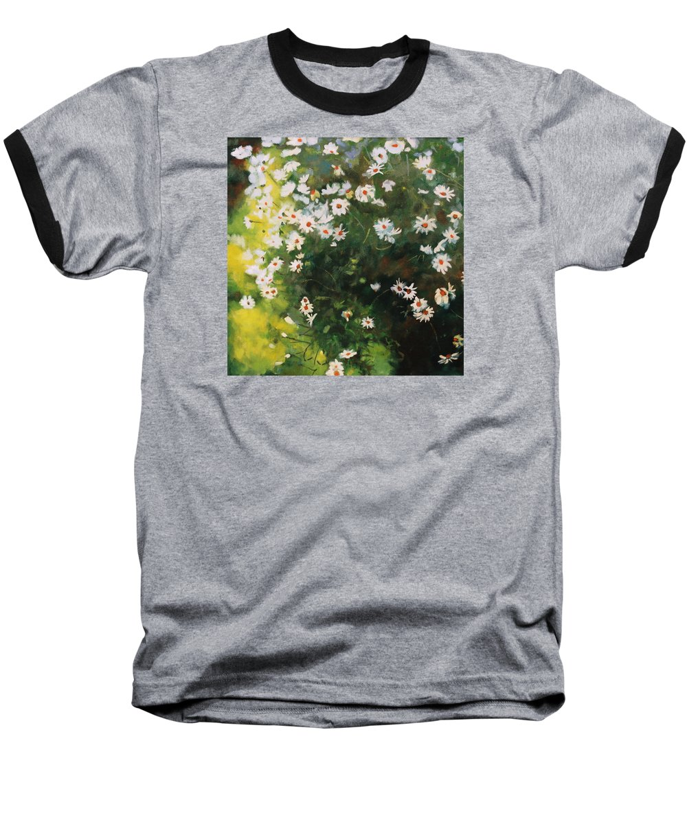 Daisies Baseball T-Shirt featuring the painting Daisies by Iliyan Bozhanov