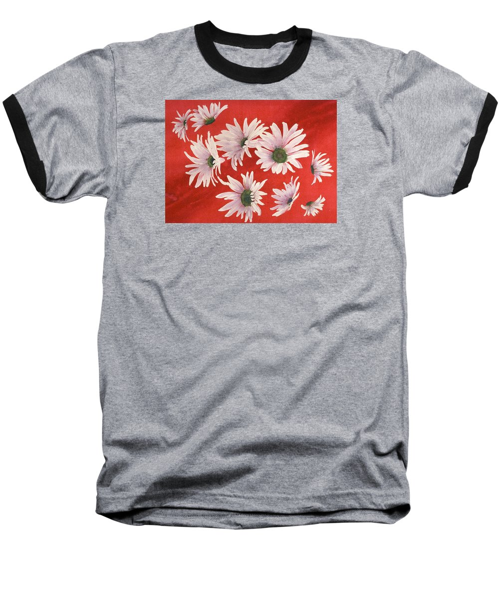 Flowers Baseball T-Shirt featuring the painting Daisy Chain by Ruth Kamenev
