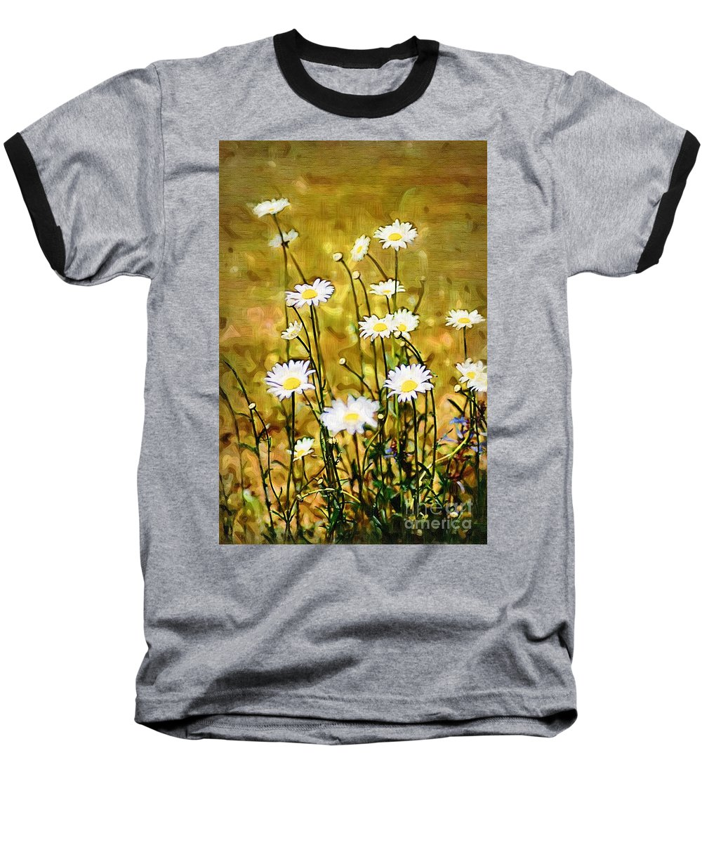 Daisy Baseball T-Shirt featuring the photograph Daisy Field by Donna Bentley