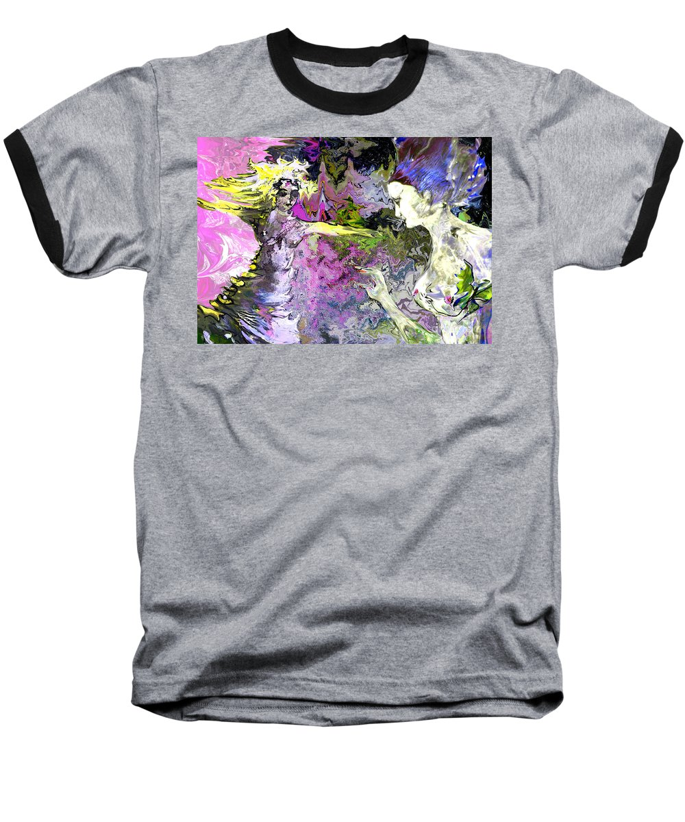 Miki Baseball T-Shirt featuring the painting Dance In Violet by Miki De Goodaboom