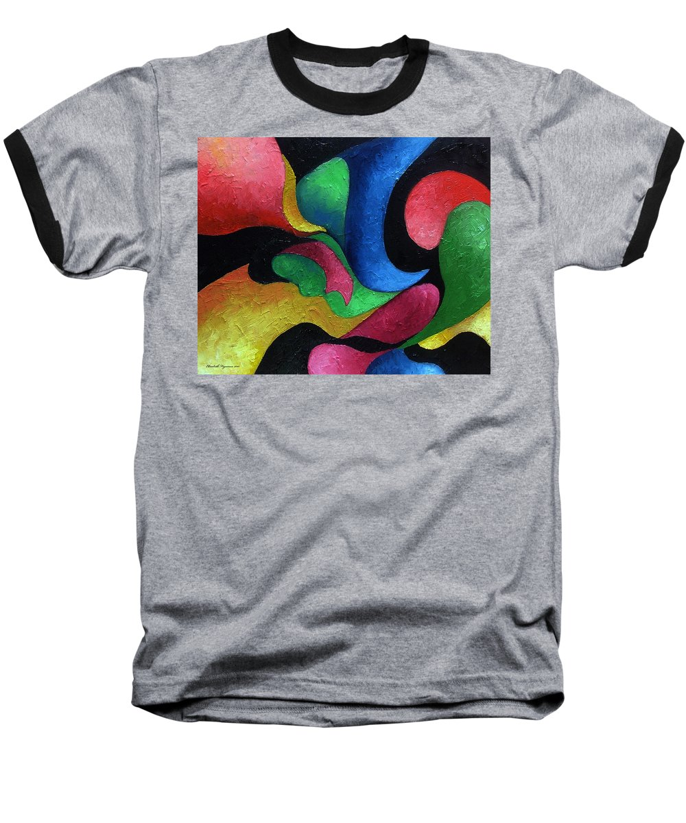 Abstract Baseball T-Shirt featuring the painting Dance With Me by Elizabeth Lisy Figueroa