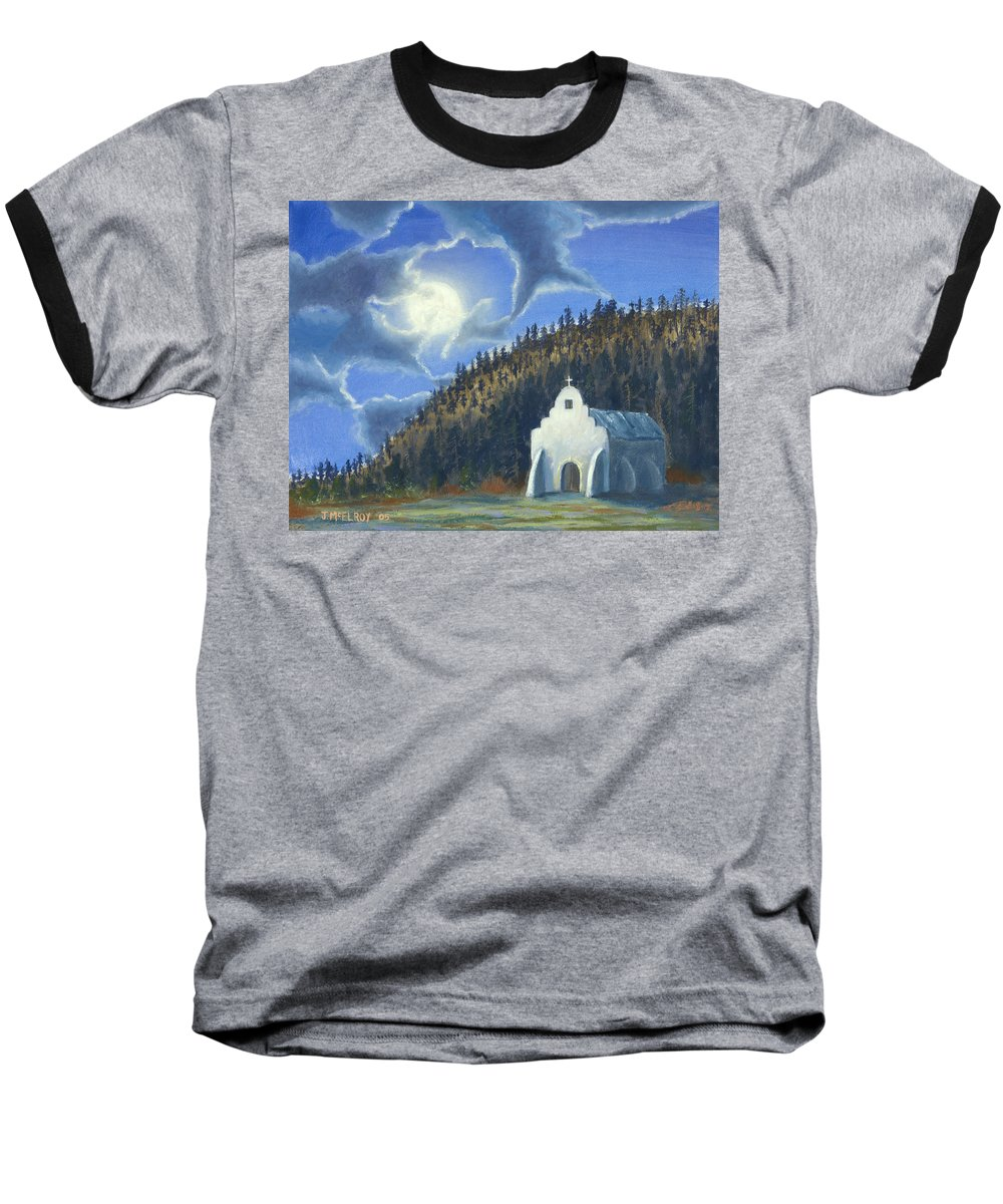 Landscape Baseball T-Shirt featuring the painting Dancing In The Moonlight by Jerry McElroy