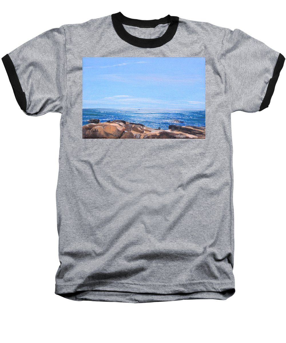 Seascape Baseball T-Shirt featuring the painting Dancing Light by Lea Novak