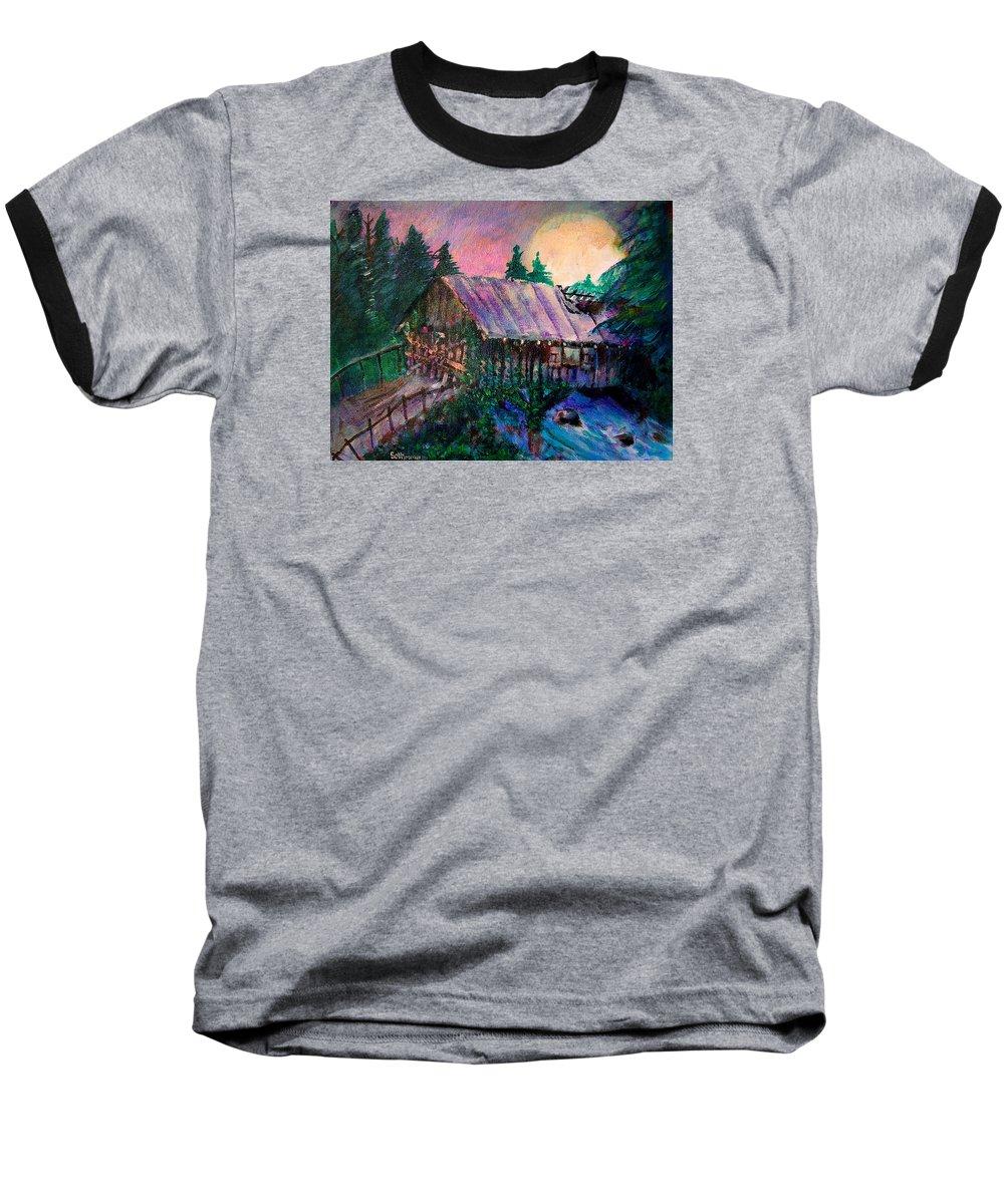 Dangerous Bridge Baseball T-Shirt featuring the painting Dangerous Bridge by Seth Weaver