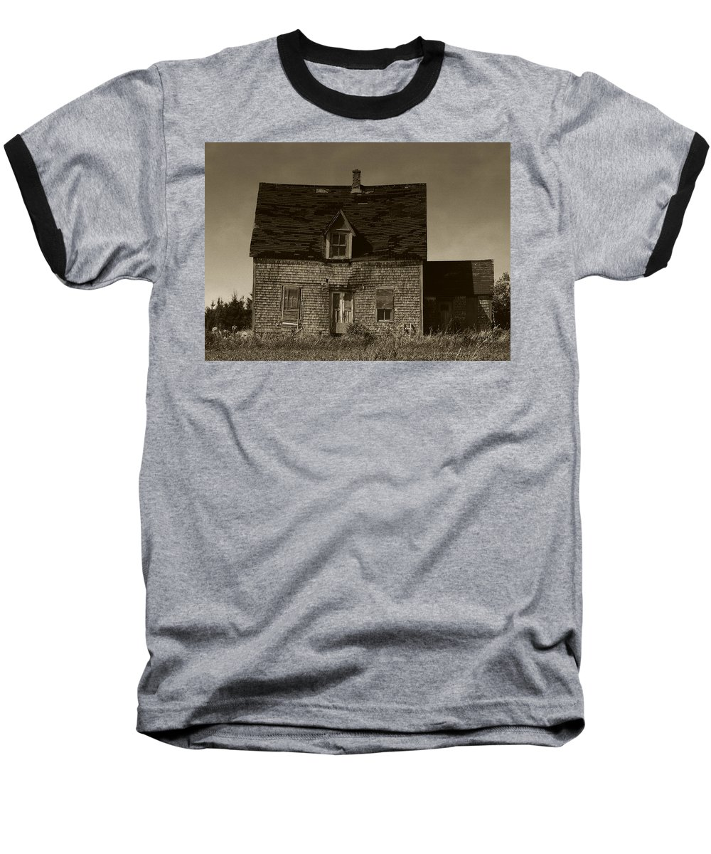 Old House Baseball T-Shirt featuring the photograph Dark Day On Lonely Street by RC DeWinter