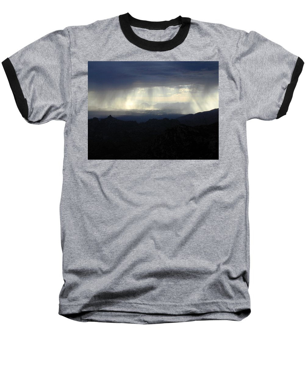 Darkness Baseball T-Shirt featuring the photograph Darkness Over The City by Douglas Barnett
