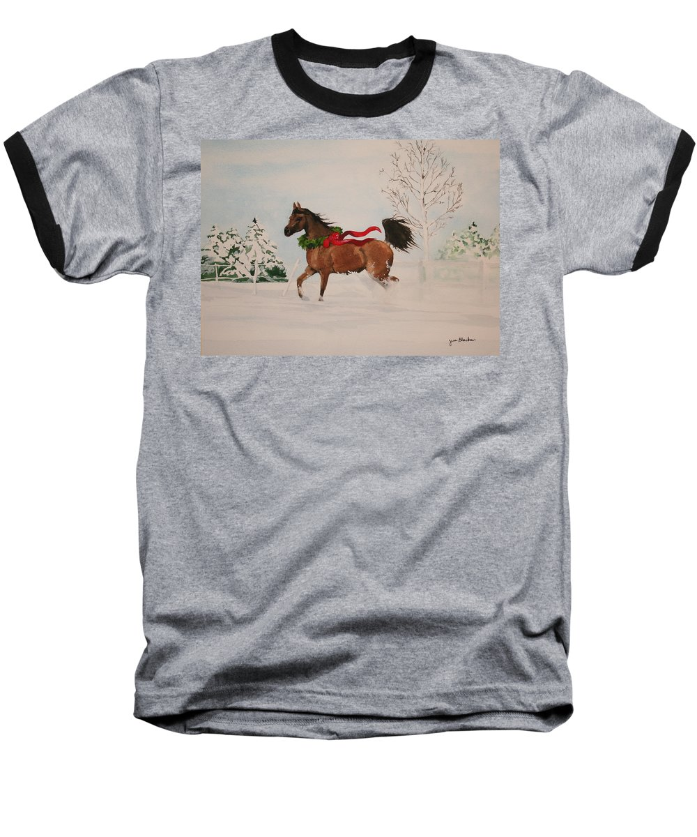 Horse Baseball T-Shirt featuring the painting Dashing Thru The Snow by Jean Blackmer