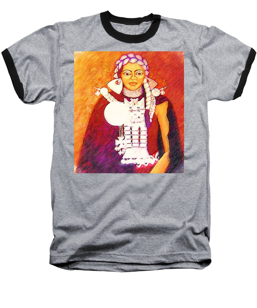 Portrait Baseball T-Shirt featuring the painting Daughter Of The Bright Sun - Kushe by Madalena Lobao-Tello