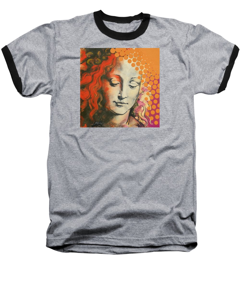 Figurative Baseball T-Shirt featuring the painting Davinci's Head by Jean Pierre Rousselet