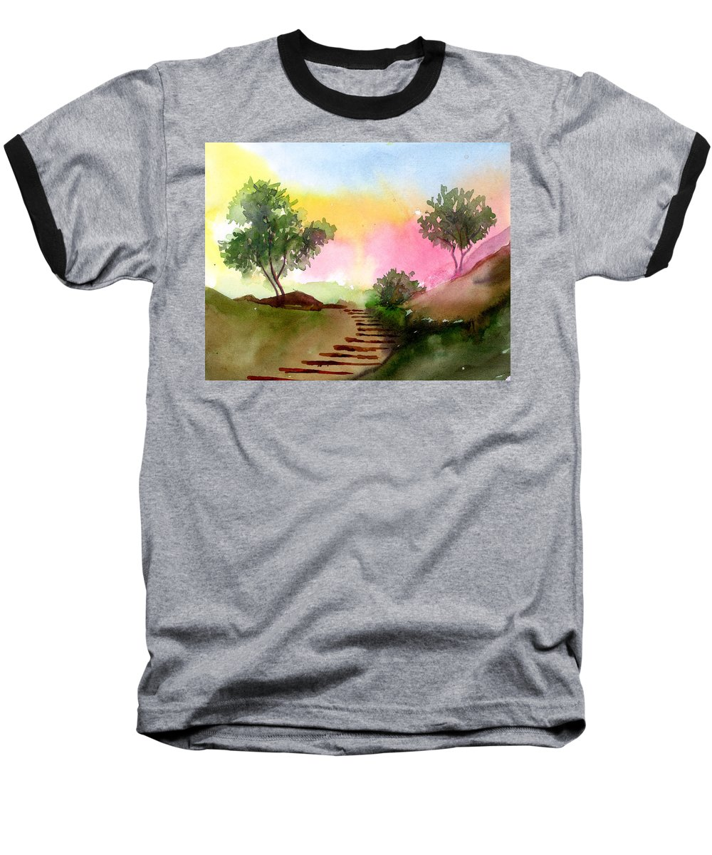 Landscape Baseball T-Shirt featuring the painting Dawn by Anil Nene