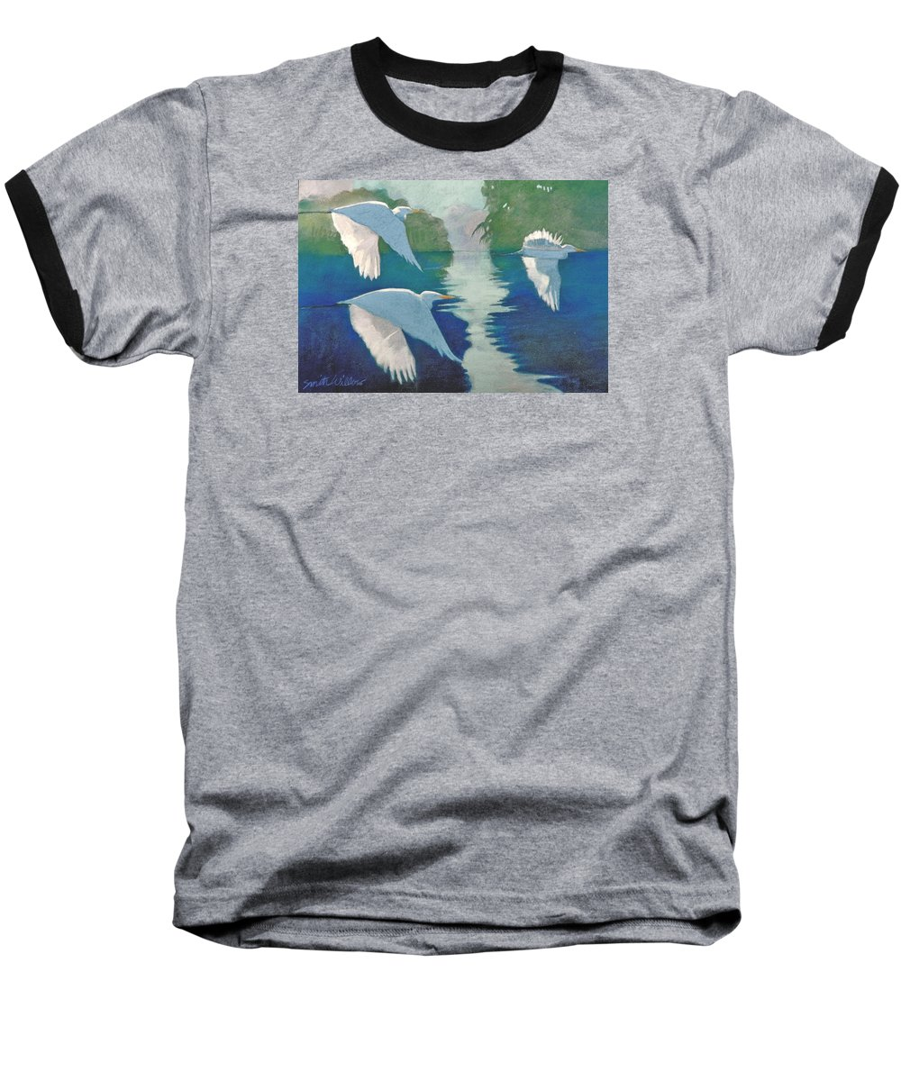Birds Baseball T-Shirt featuring the painting Dawn Patrol by Neal Smith-Willow
