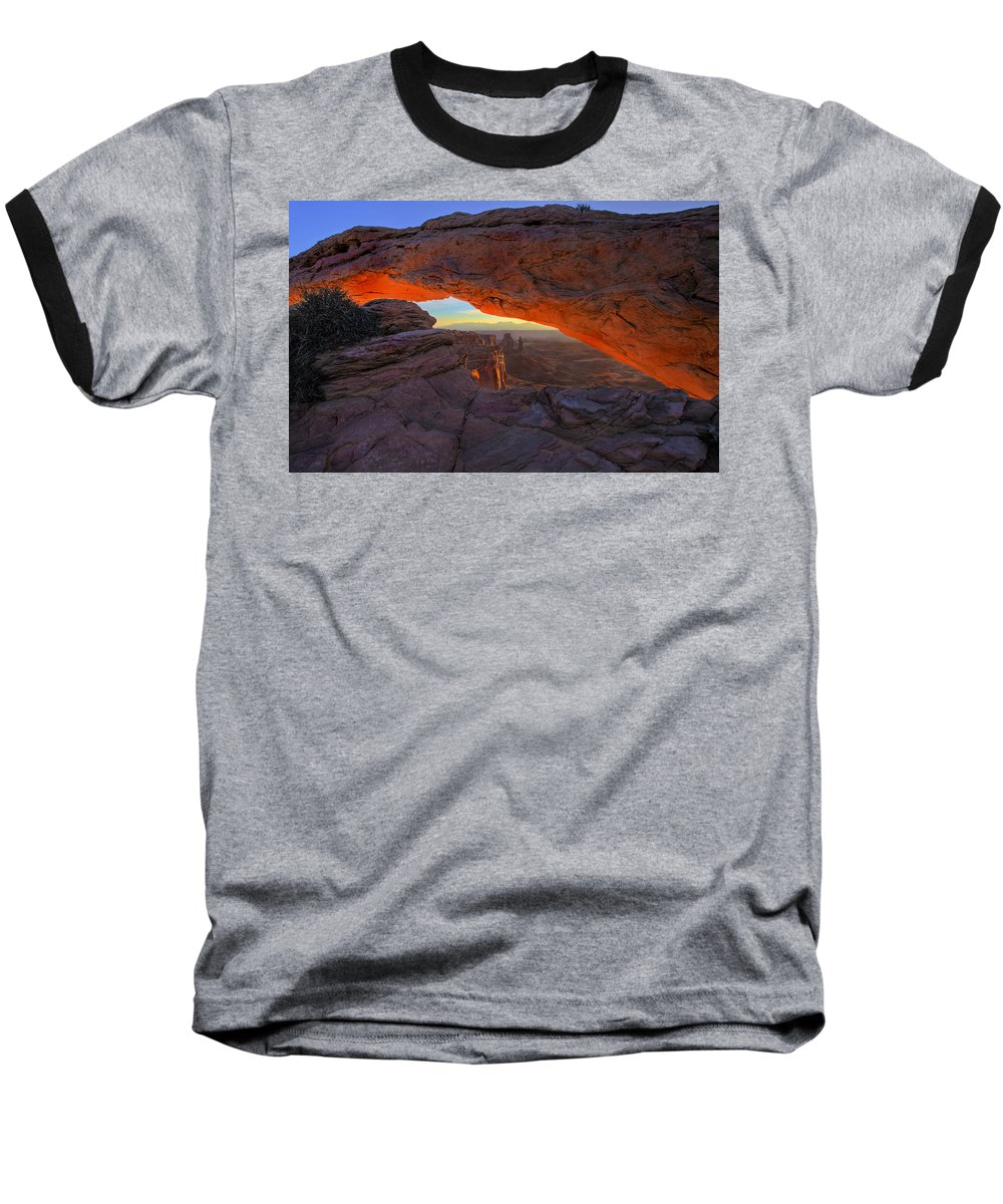 Mesa Arch Baseball T-Shirt featuring the photograph Dawns Early Light by Mike Dawson