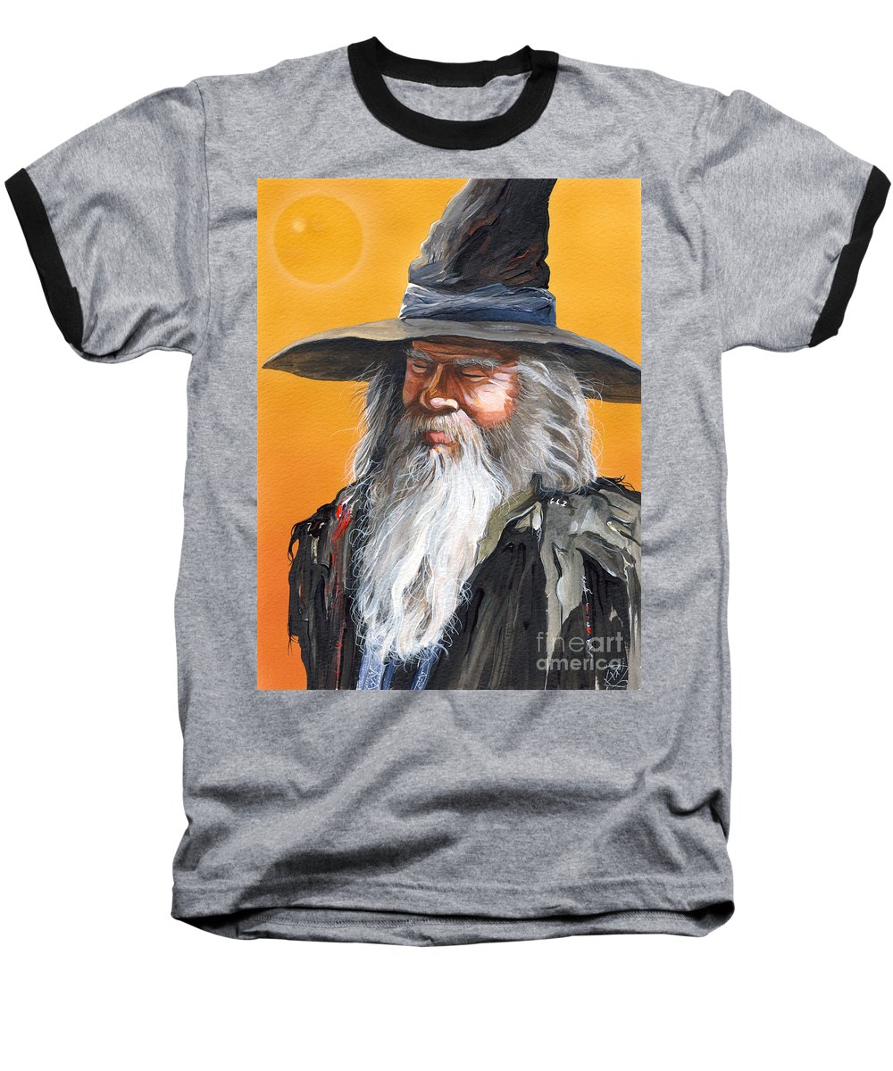 Fantasy Art Baseball T-Shirt featuring the painting Daydream Wizard by J W Baker
