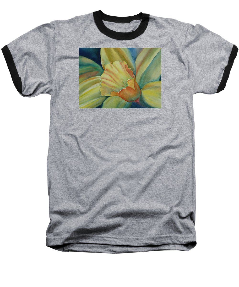Flower Baseball T-Shirt featuring the painting Dazzling Daffodil by Ruth Kamenev