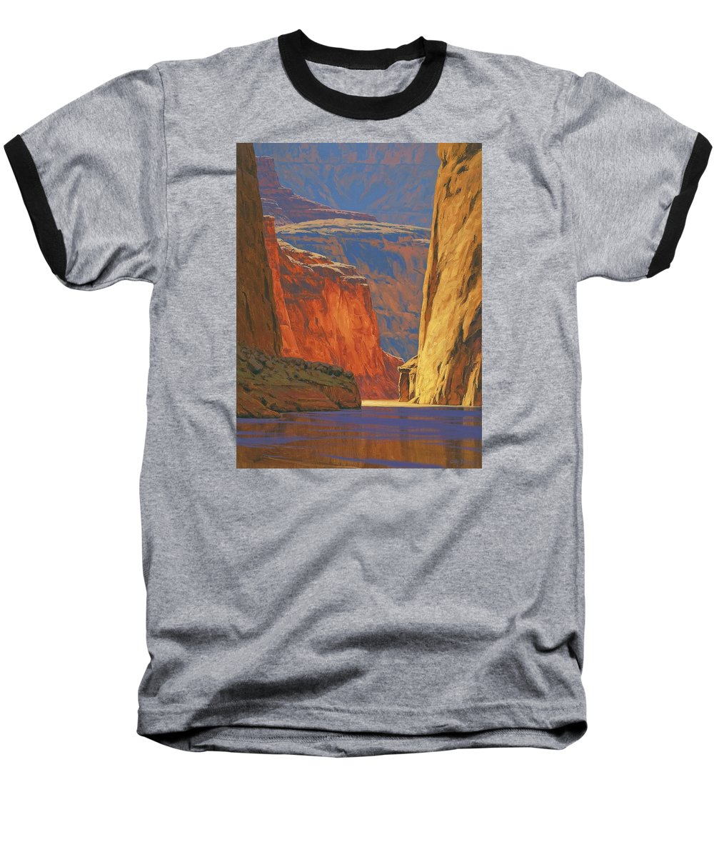 Grand Canyon Baseball T-Shirt featuring the painting Deep In The Canyon by Cody DeLong