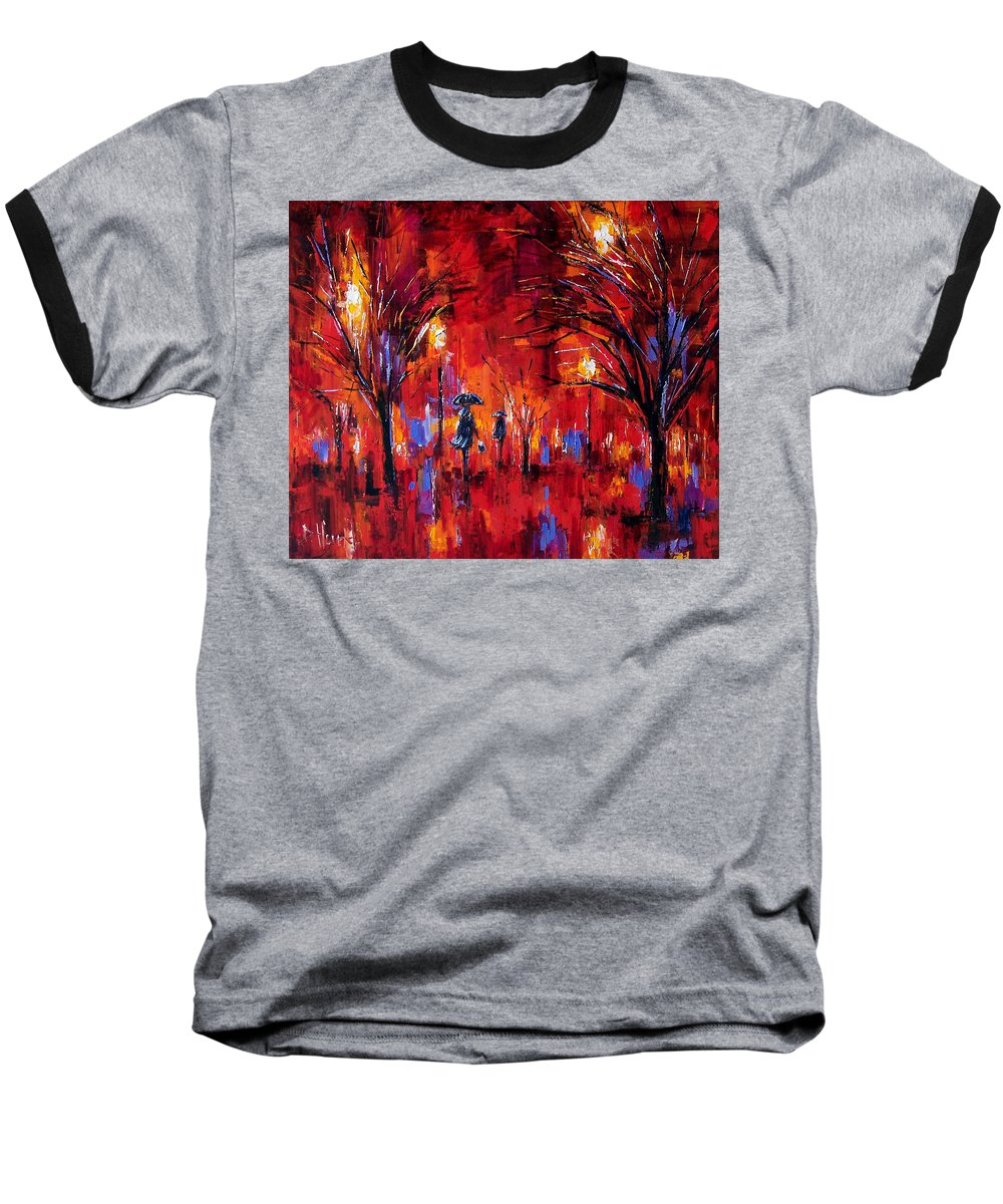 Umbrellas Baseball T-Shirt featuring the painting Deep Red by Debra Hurd