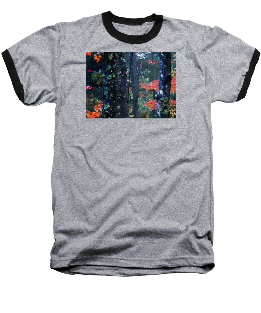 Landscape Baseball T-Shirt featuring the digital art Deep Woods Mystery by Dave Martsolf