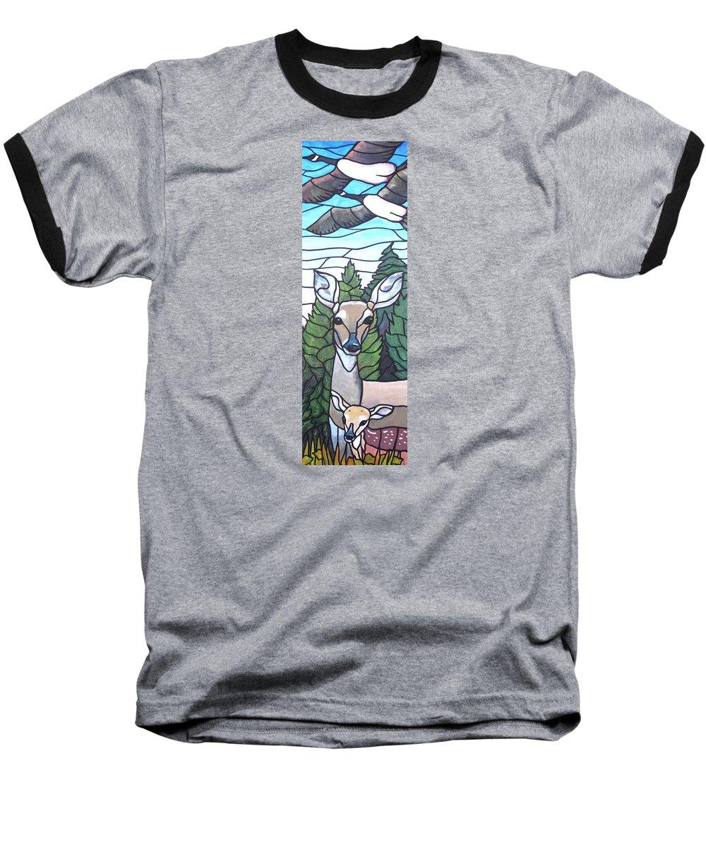 Deer Baseball T-Shirt featuring the painting Deer Scene by Jim Harris