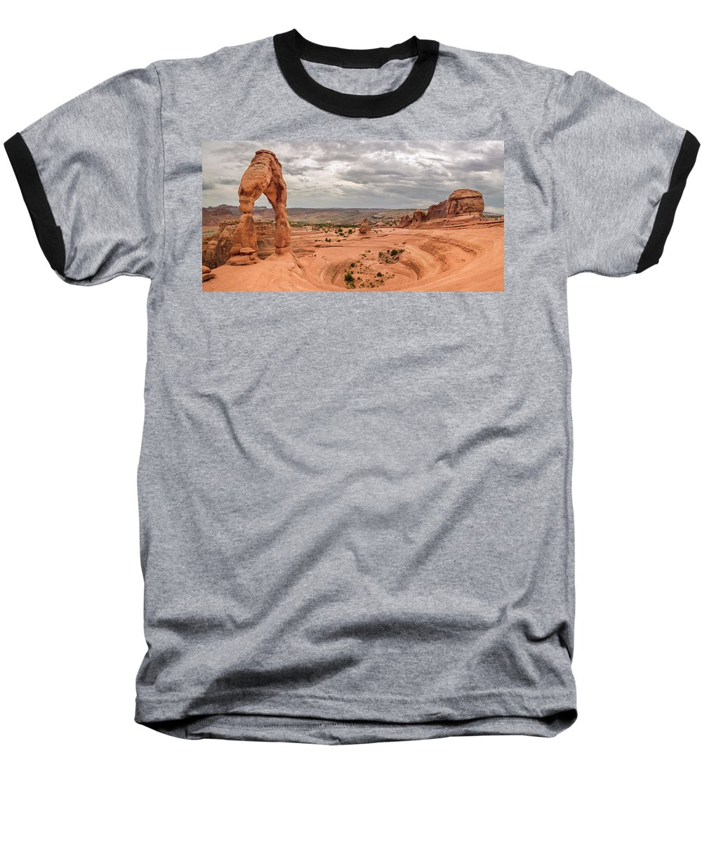 3scape Baseball T-Shirt featuring the photograph Delicate Arch Panoramic by Adam Romanowicz