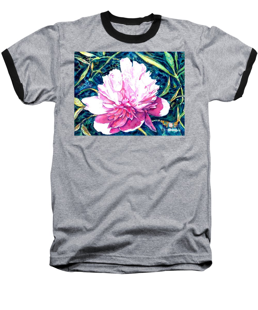 Peony Baseball T-Shirt featuring the painting Delightful Peony by Norma Boeckler