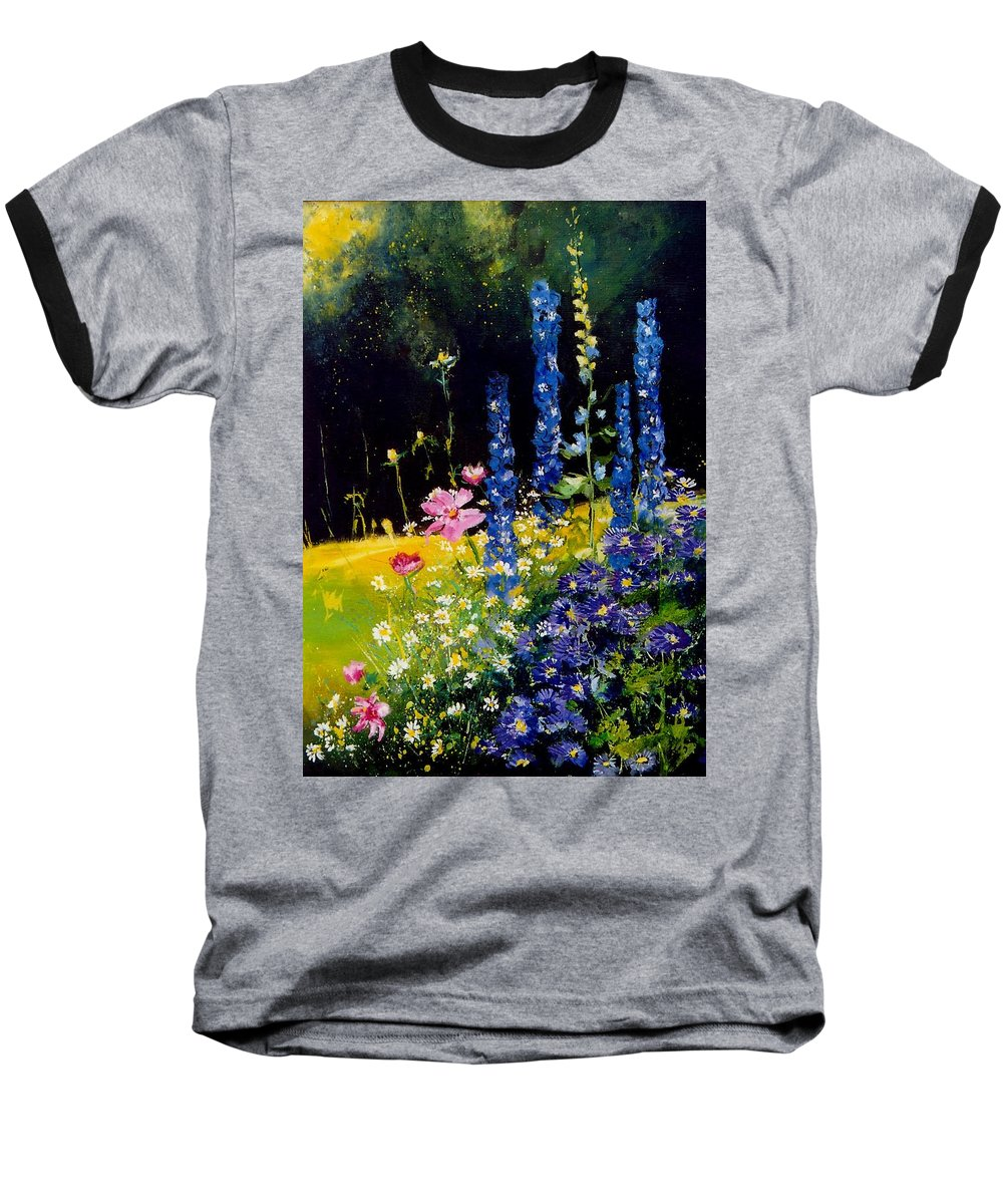Poppies Baseball T-Shirt featuring the painting Delphiniums by Pol Ledent
