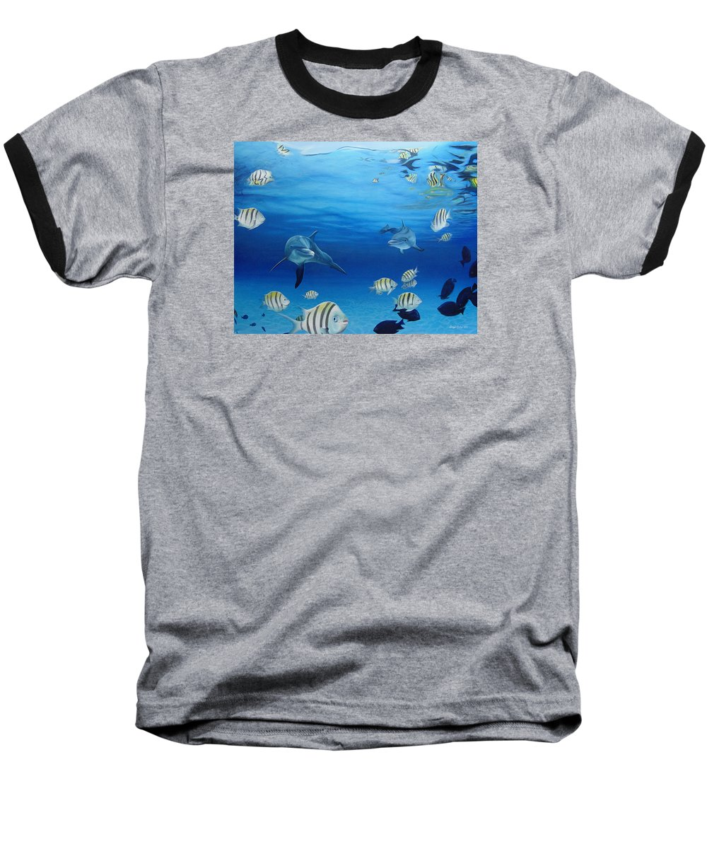 Seascape Baseball T-Shirt featuring the painting Delphinus by Angel Ortiz