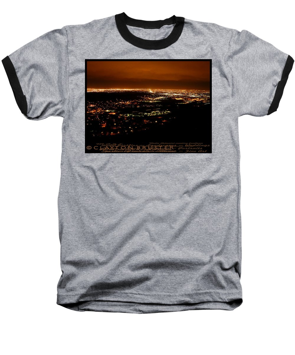 Clay Baseball T-Shirt featuring the photograph Denver Area At Night From Lookout Mountain by Clayton Bruster