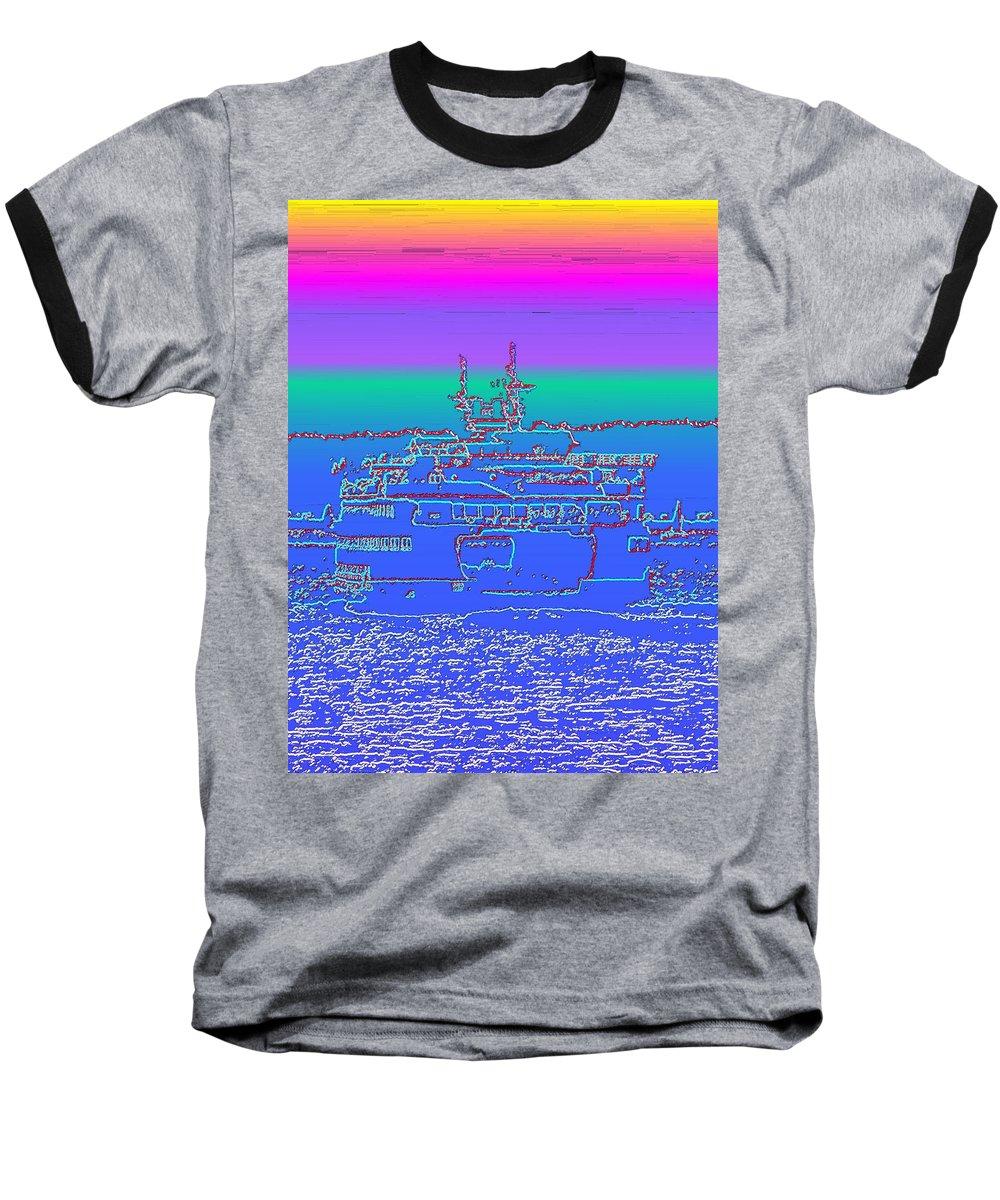 Digital Photo Manipulation Baseball T-Shirt featuring the photograph Departing Ferry by Tim Allen